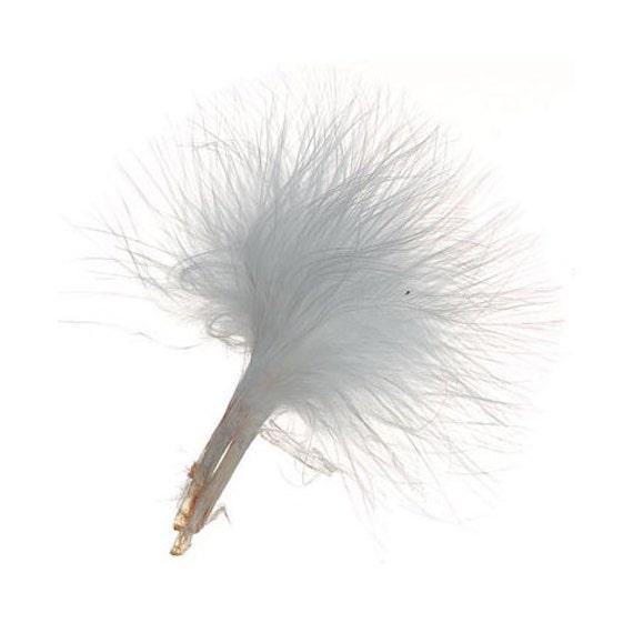 50 Marabou Feather Picks in White - 7 grams - White Marabou Feathers