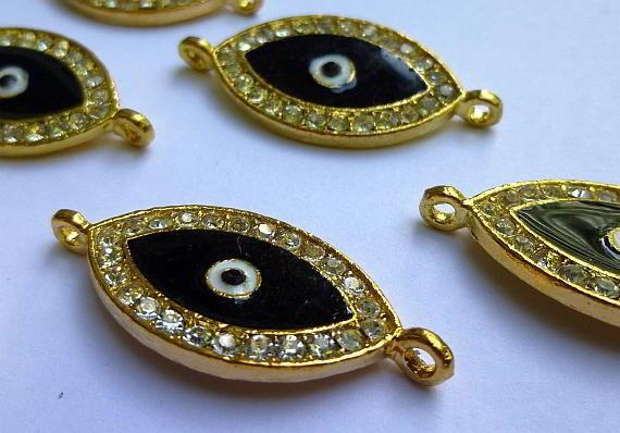 3 Rhinestone Evil Eye Connector or Charm Gold - Black Crystal Rhinestones 27 x 15