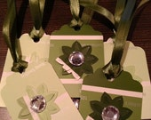 Tones of Green Paint Swatch Chip Floral Crystal Gift Tags Set of 6 Die Cut