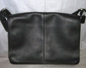Very Large Vintage Black Coach Leather Briefcase/Messenger Bag and Laptop Bag