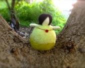 Needle Felted Mother Nature Standing Doll, Green With Red Flower Bead, Home Decoration