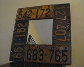 License Plate Mirror made from Real Vintage License Plates - 1928 - 1928 - 1929 - 1929  Plates Used - One of a Kind