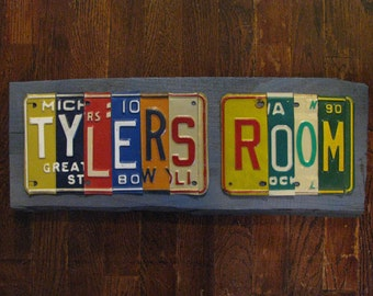 Made to Order KIDS ROOM SIGN from real license plate sign -You Design- nursery decor