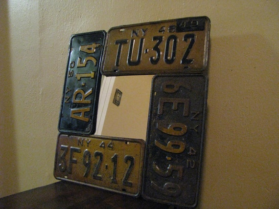 License Plate Mirror made from Real Vintage License Plates - 1942 - 1944 - 1948 - 1950  Plates Used - One of a Kind