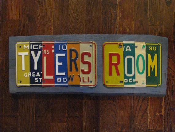 Made to Order KIDS ROOM SIGN from real license plates- You Design -  Vintage License Plates Hand Cut