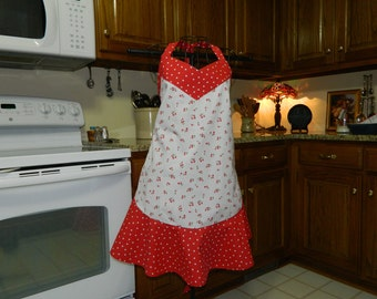 Ladies Full Apron,Cherries with Polka dots Apron, Woman's full Apron / Retro Style / Full Designer Kitchen Apron