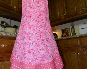 Ladies Full Apron, Pink Spring Apron, Woman's full Apron / Retro Style / Full Designer Kitchen Apron