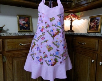 Ladies Full Apron,  Woman's full Apron /  Full Designer Kitchen Apron / Vintage Apron Beautiful Pink Apron with Children Playing