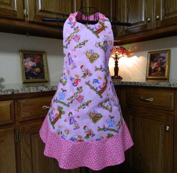 Ladies Full Apron, Poppy Apron, Woman's full Apron / Retro Style / Full  Kitchen Apron / Vintage Apron / Pink Apron with Children Playing