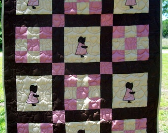 SALE!! Crib Quilt - Pink, Brown, and Tan Sunbonnet Sue Baby Quilt