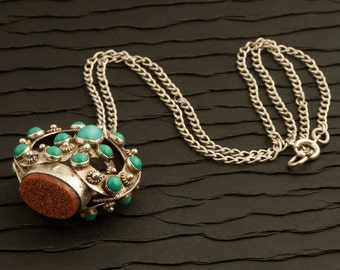 Vintage Sterling Silver, Turquoise Glass And Goldstone Glass Necklace