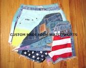Custom Dip Dyed High Waist Shorts -Made to Order