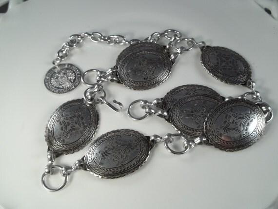 Vintage Concho Belt Silver Tone