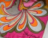 Vintage Schiaparelli Silk Scarf Shocking Pink, Orange, Magenta Gold Psycedelic Print