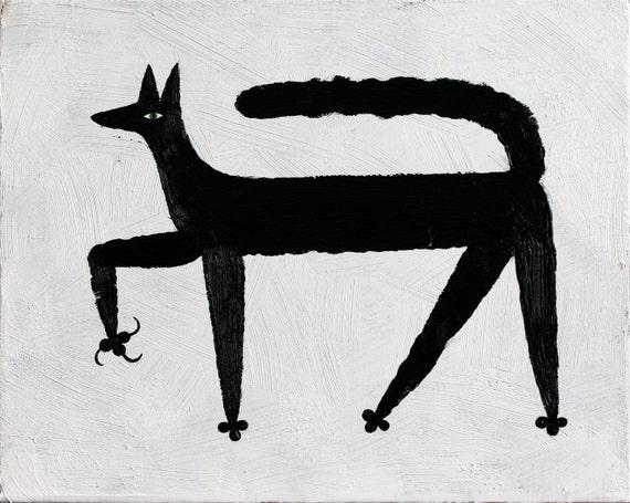 Black Cat in Winter, original art painting, oil on canvas.
