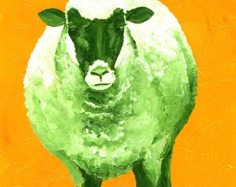 Large Fine Art Print of Sheep Acrylic Painting