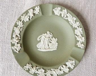 Wedgwood Round Ashtray - Grapevine Motif - Green Jasperware
