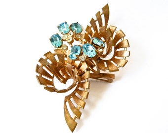 Vintage Brass Blue and White Rhinestone Floral Spiral Brooch