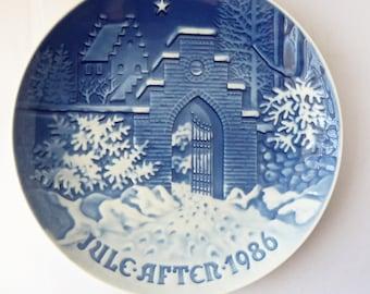 B&G Plate - Silent Night - 1986 - Blue Decorative Christmas Plate