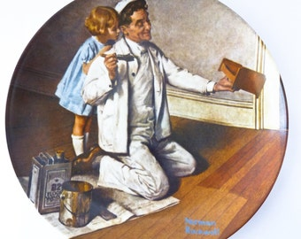 Norman Rockwell Plate - The Painter - Decorative Lunch Plate - Knowles 1983