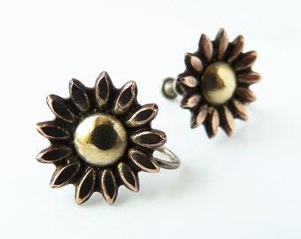 Sterling Silver Sunflower Daisy Screw Back Earrings