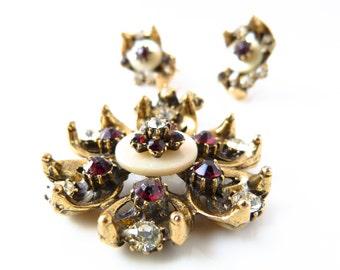 Vintage Flower Motif Rhinestone Pendant and Earring Set