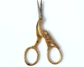 Vintage Gold and Silver Toned Stork Sewing Scissors - Japan