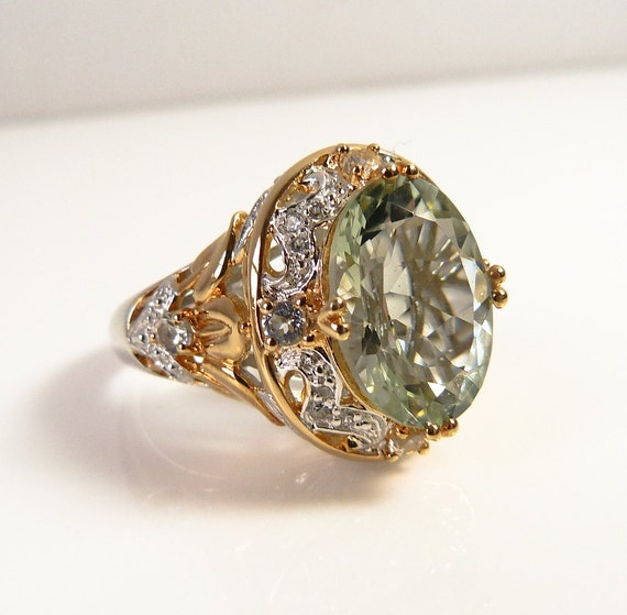 Sterling Silver Green Cut Glass and Marcasite Ring with Vermeil Gold Detailing - Size 7 3/4
