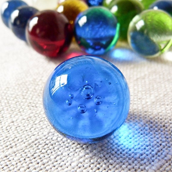 Large Vintage Mixed Color Blown Glass Marbles Large Shooters