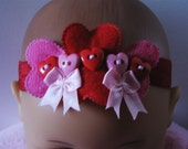 Sweethearts and bows headband for girls sz 6 to 18m