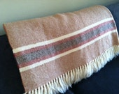 Rust, Brown, Red & Cream Stripe Wool Blanket
