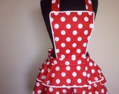 Red and White Polka Dot Apron - Adult Size