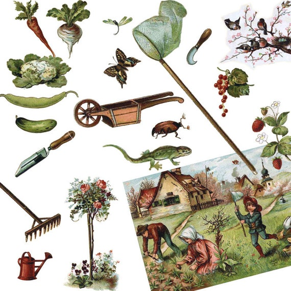 Items similar to spring garden vintage clip art digital for Gardening tools vintage