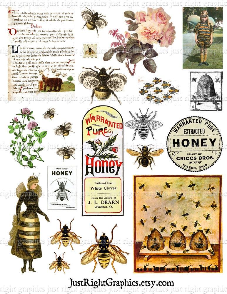 Vintage Bees Clip Art Digital Collage Sheet Art Journal ...