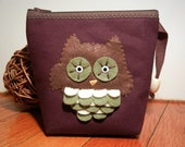 Block Printed Fabric Owl Pouch, Makeup Bag, Craft Holder, Gift. Keeper of the little things you love.