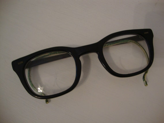 Vintage Black Horn Rim USS Army Issue Glasses 1950's Romco Spectacles