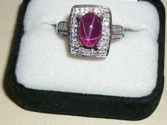 Natural Star Ruby 925 Silver Size 6.5 Ring
