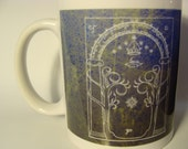 The Doors of Durin, Lord of Moria 11 oz blue coffee mug, Tolkien, Lord of the Rings