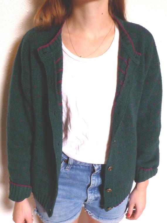 TWIN PEAKS Vintage WOOLRICH Cozy Forest Green Grunge Cardigan Wool Grandpa Sweater