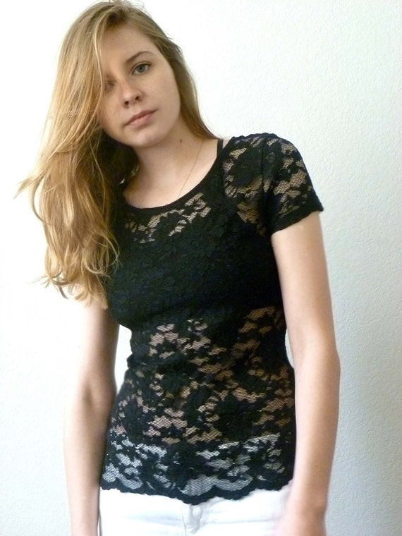 90s SHEER Black LACE Womens Top Small