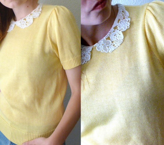 RESERVED for MARINA M Yellow Knit Short Sleeve Blouse w Crochet Lace Peter Pan Collar