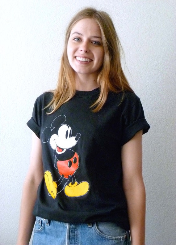 MICKEY MOUSE T Shirt in Black UNISEX 100% cotton