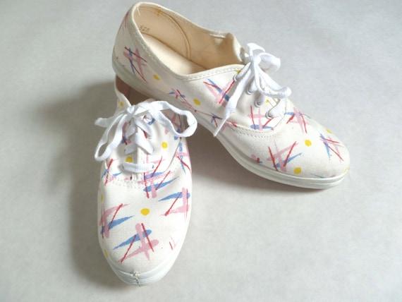 Vintage 80s 90s white SPLATTER Sneakers Like Keds