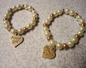 Custom Order for Jennifer: Champagne Ivory, and Gold Flower Girl Bracelets