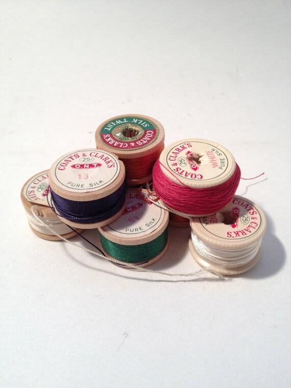 Navy Coats & Clarks Darning Silk Twist Embroidery Thread Wooden Spools Size D Vintage 1940, CUSTOM ORDER