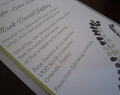 Silver and Lime Green Fern Wedding Invitation