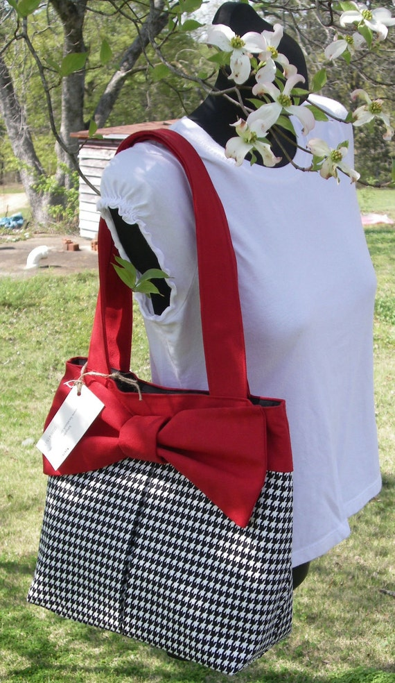 RESERVED LISTING for GHICKEY32 Hand-made Handbag Roll Tide Houndstooth.
