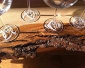 Sandblast Etched Martini Glasses Pinot Abstract Motif