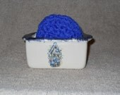 Navy Birdhouse Ceramic Scrubbie Holder