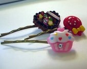 Bobby Hair Pins kawaii cute resin chocolate candy cupcake lollipop (set of 3)